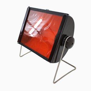 Lampada Mid-Century in vetro rosso e metallo, anni '60