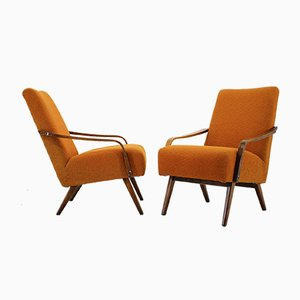 Mid-Century Fabric and Wood Armchairs, 1960s, Set of 2