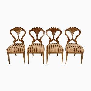 Antike Biedermeier Esszimmerstühle von Josef Danhauser, 4er Set