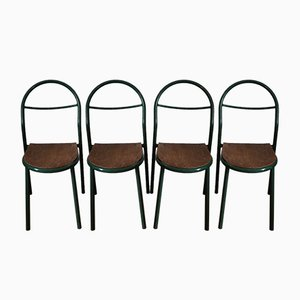 Industrial French Plywood and Tubular Steel Side Chairs by René Herbst for Mobilor, 1950s, Set of 4