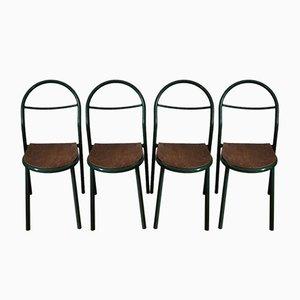 Industrielle französische Beistellstühle aus Schichtholz & Stahlrohr für Mobilor, 1950er, 4er Set