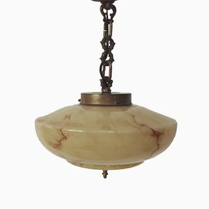 Art Deco Brass and Glass Ceiling Lamp, 1930s