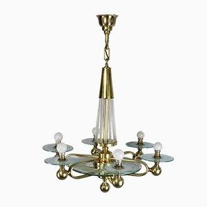 Französische Art Déco Vintage Deckenlampe aus Messing & Glas