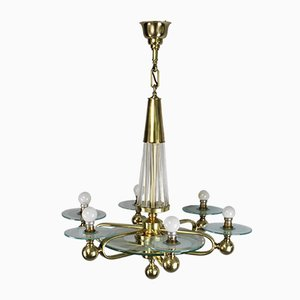 Vintage Art Deco French Brass and Glass Ceiling Lamp