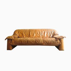 Sofá de tres plazas vintage de cuero, años 70