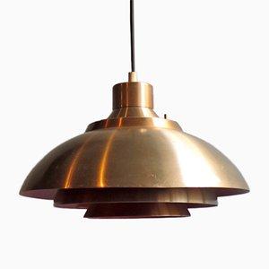 Lámpara colgante danesa vintage naranja y dorada, años 60