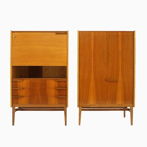 Mahogany & Ash Secretaires by František Mezulánik for UP Závody, 1967, Set of 2