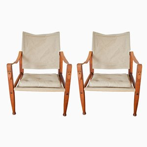 Moderne Safari Stühle im skandinavischen Design von Kaare Klint für Rud. Rasmussen, 1950er, 2er Set
