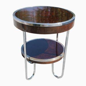 Tavolo Art Deco vintage in metallo e vetro
