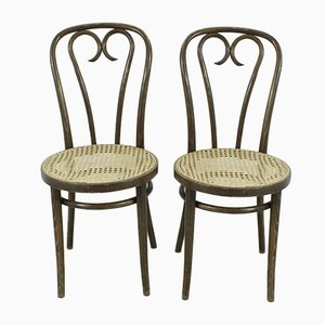 Vintage Beech Dining Chairs, 1920s, Set of 2