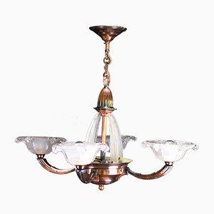 Lámpara de techo francesa Art Déco vintage de cobre y vidrio de Atelier Petitot