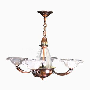 Vintage Art Deco French Copper and Glass Ceiling Lamp from Atelier Petitot