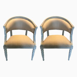 Antique Gustavian Wooden Lounge Chairs, Set of 2