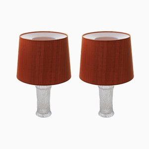 Scandinavian Modern Fabric, Glass & Acrylic Table Lamps by Timo Sarpaneva for Luxus, 1968, Set of 2