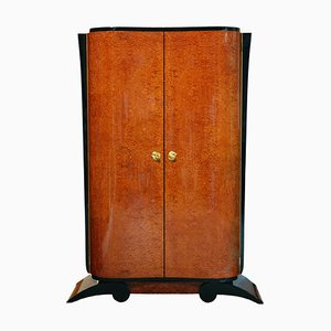 Art Deco French Amboyna Veneer Armoire, 1930s