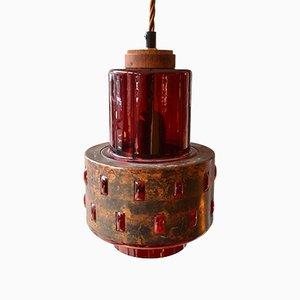Lampes à Suspension Scandinaves en Cuivre et Verre Rouge par Nanny Still McKinney pour Raak, 1960s, Set de 2