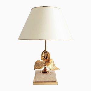 Lámpara de mesa francesa moderna de latón dorado de Maison Charles, años 70