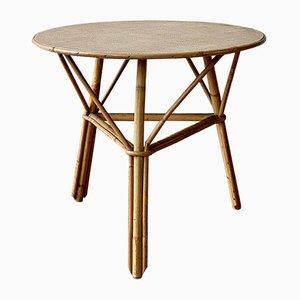 Table d'Appoint Mid-Century en Rotin, Skaï et Bambou