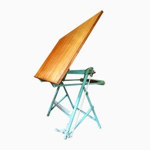 Mesa de dibujo de arquitecto francesa industrial vintage de L. Sautereau