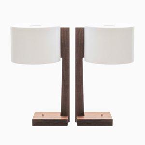 Lampes de Bureau Scandinaves en Palissandre et Acrylique par Uno & Östen Kristiansson pour Luxus, 1960s, Set de 2