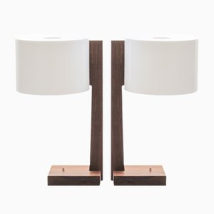 Scandinavian Modern Rosewood & Acrylic Table Lamps by Uno & Östen Kristiansson for Luxus, 1960s, Set of 2