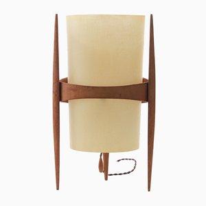 Tisch- oder Stehlampe aus Leder & Eiche von Krásná Jizba für ULUV, 1950er