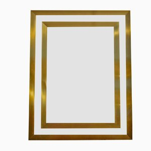 Espejo vintage rectangular de bronce con bordes de latón dobles, años 70