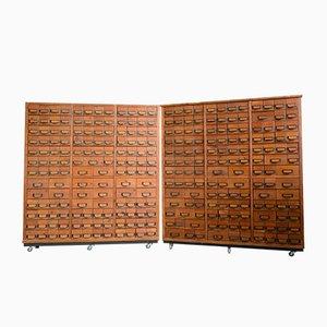 Mueble médico industrial Mid-Century de pino, años 50