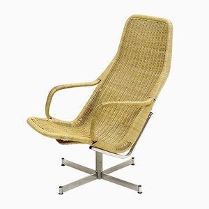 Chrome Plating and Rattan Swivel Chair by Dirk van Sliedregt for Gebroeders Jonkers Noordwolde, 1961