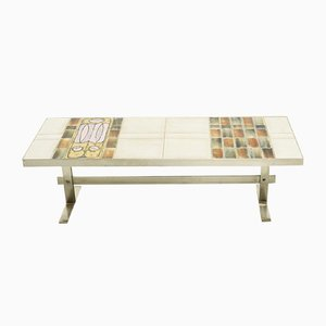 Mid-Century French Ceramic and Brushed Metal Coffee Table, 1960s