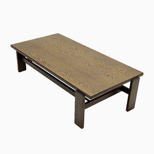 Mesa de centro asimétrica de madera de wengué macizo, años 60