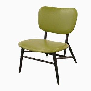 Grüner schwedischer Mid-Century Beistellstuhl mit Sitz aus Skai, 1950er
