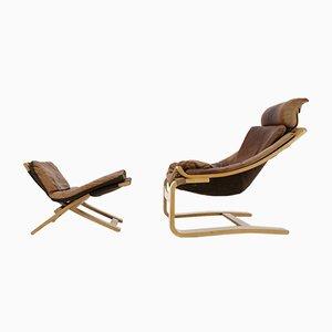 Juego de sillón y taburete Swedis Kroken de cuero de Ake Fribytter para Nelo, años 70