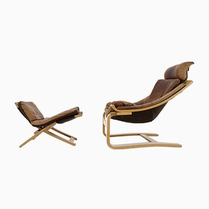Swedish Kroken Leather Lounge Chair and Stool Set by Åke Fribytter for Nelo, 1970s