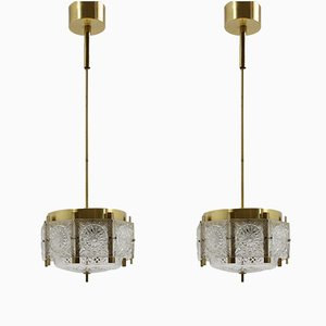 Brass and Cut Glass Chandeliers from Kamenický Šenov, 1970s, Set of 2