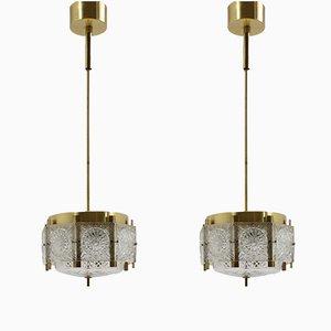 Lámparas de araña de latón y cristal tallado de Kamenický Šenov, años 70. Juego de 2
