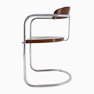 Silla Bauhaus de metal cromado tubular de Hynek Gottwald, años 30