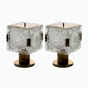 Brass and Crystal Table Lamps by Kamenický Šenov, 1960s, Set of 2