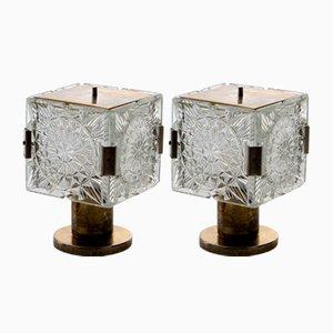 Tischlampen aus Messing & Kristallglas von Kamenický Šenov, 1960er, 2er Set