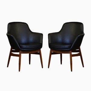 Mid-Century Armlehnstühle mit schwarzem Sitz aus Vinyl, 1950er, 2er Set