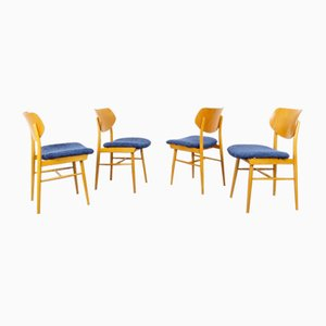 Art Deco Wood Dining Chairs, 1960s, Set of 4