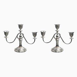 Vintage Kerzenständer aus massivem Silber, 2er Set