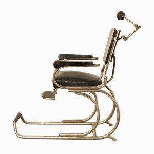 Sedia da barbiere o da dentista vintage in acciaio e skai, anni '20