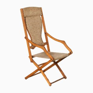 Vintage Beech and Skai Folding Chair, 1930s
