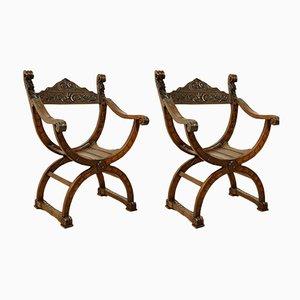 Antike Sessel mit Gestell aus Kirschholz, 2er Set