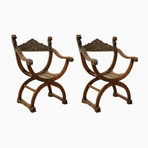 Antique Cherry Armchairs, Set of 2