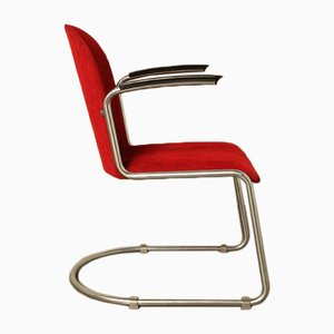 Vintage Modell 413 Beistellstuhl aus Bakelit & Stahl von Gispen, 1930er
