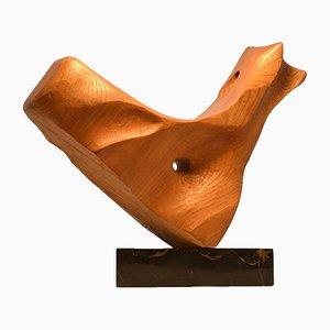 Handgefertigte Skulptur aus Eiche & Marmor von E. Robson, 1970er