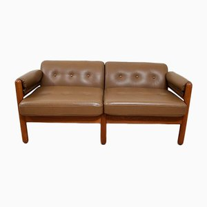 Mid-Century Danish Leather and Teak 2-Seater Sofa, 1960s
