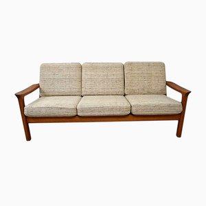 Sofá de tres plazas danés de teca de Juul Kristensen, años 60